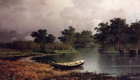 Берег реки. Лодка. (Р.Г. Судковский, 1881 г.)