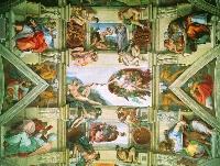 Микеланджело. Сотворение Адама. Фреска Сикстинской капеллы