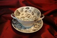 Супница с блюдцем (керамика, декор, люстр)