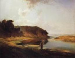 Ранняя работа А. Саврасова Пейзаж с рыбаком