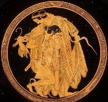 Фетида и Пелей. Краснофигурный килик, 500 г. до н.э