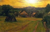 Село Тереховское после дождя (А. Чащинский, реалистическая живопись, 1966 г.)