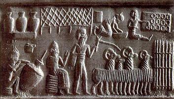 Оттиск с каменной цилиндрической печати