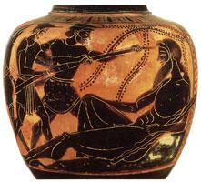 Чернофигурный сосуд для вина с изображением Одиссея