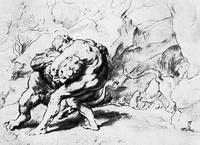 Геркулес душит немейского льва (П.П. Рубенс, около 1630 г.)