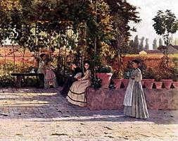В виноградной беседке (Лега Сильвестро)