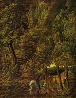 Лесной пейзаж со св. Георгием, поражающим дракона