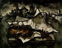 Скрипка на кладбище (О. Рабин, художник-нонконформист, 1969 г.)
