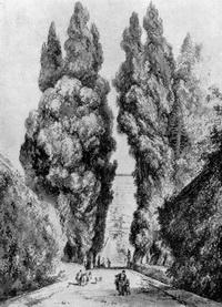 Большие кипарисы виллы д'Эсте (размывка)