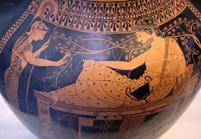 Краснофигурное изображение на амфоре Геракл и Афина (Андокид)