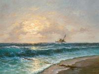 Морской пейзаж (Изек Пилковский, ручная работа, масло, холст)