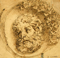 Голова фавна (А. Карраччи, Болонская школа, около 1595 г.)