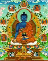 Будда медицины с голубым нимбом