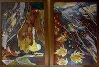 Диптих Осенний вечер (горячий батик)